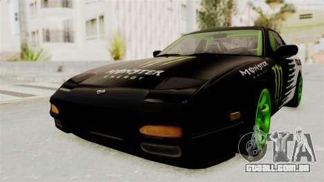 Nissan 240SX Drift Monster Energy Falken para GTA San Andreas traseira esquerda vista