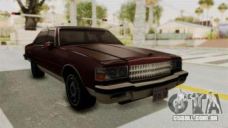 Chevrolet Caprice 1987 v1.0 para GTA San Andreas vista direita