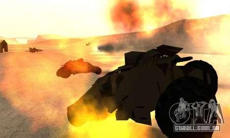 Army Tumbler Rocket Launcher from TDKR para vista lateral GTA San Andreas