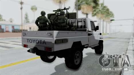 Toyota Land Cruiser Libyan Army para GTA San Andreas esquerda vista