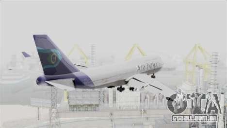 Boeing 747-400 Air India para GTA San Andreas vista direita