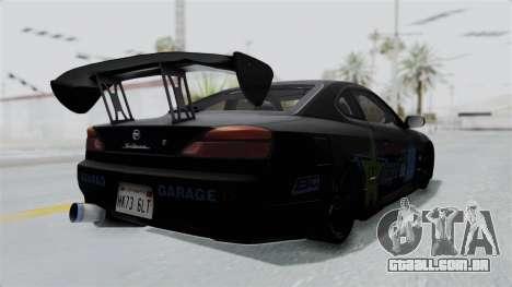 Nissan Silvia S15 RDT para GTA San Andreas traseira esquerda vista