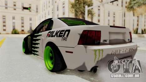 Ford Mustang 1999 Drift Monster Energy Falken para GTA San Andreas esquerda vista