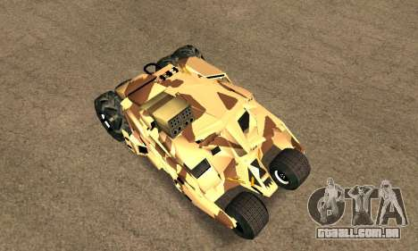 Army Tumbler Rocket Launcher from TDKR para GTA San Andreas vista traseira