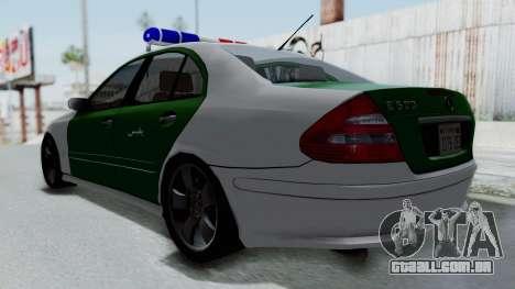 Mercedes-Benz E500 Police para GTA San Andreas traseira esquerda vista