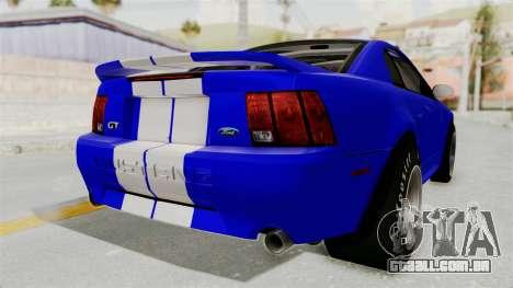 Ford Mustang 1999 Drag para GTA San Andreas vista direita