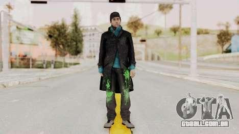 Watchdogs Aiden Pierce DedSec Outfit para GTA San Andreas segunda tela