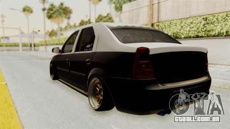 Dacia Logan Facelift Stance para GTA San Andreas traseira esquerda vista