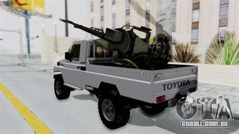 Toyota Land Cruiser Libyan Army para GTA San Andreas traseira esquerda vista