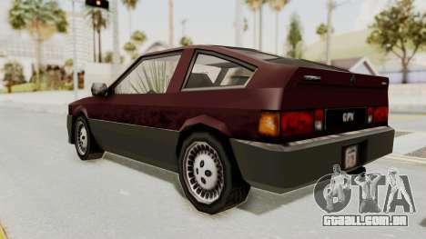 Blista Compact GPX (Beta VC Blistac) para GTA San Andreas traseira esquerda vista