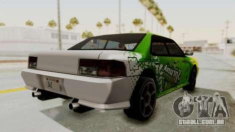 Sprunk Sultan para GTA San Andreas traseira esquerda vista