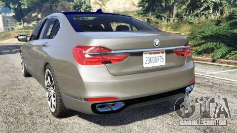 GTA 5 BMW 750Li xDrive (G12) 2016 traseira vista lateral esquerda