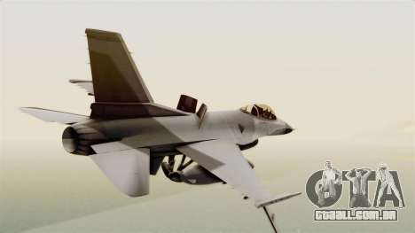 F-16 Fighting Falcon para GTA San Andreas esquerda vista