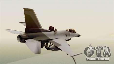 F-16 Fighting Falcon para GTA San Andreas esquerda vista