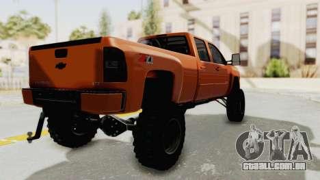 Chevrolet Silverado Long Bed para GTA San Andreas traseira esquerda vista