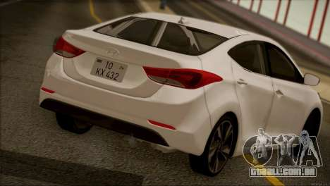Hyundai ELANTRA 2015 STOCK para GTA San Andreas vista traseira