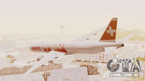 Boeing 777-300ER Faces of SWISS Livery para GTA San Andreas esquerda vista