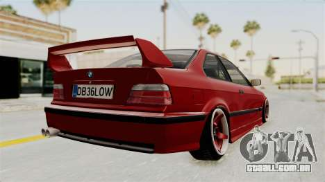 BMW 325i E36 Coupe para GTA San Andreas traseira esquerda vista