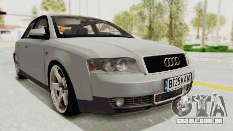 Audi A4 2002 Stock para GTA San Andreas traseira esquerda vista