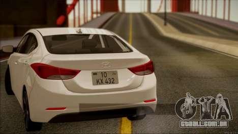Hyundai ELANTRA 2015 STOCK para GTA San Andreas vista interior