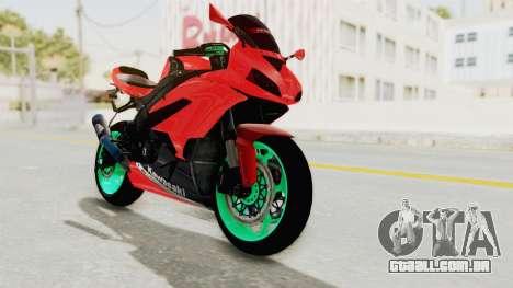 Kawasaki Ninja ZX-6R Highmodif para GTA San Andreas traseira esquerda vista