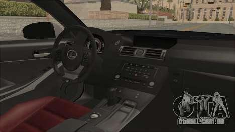 Lexus IS350 FSport Megami no Aqua para GTA San Andreas vista interior