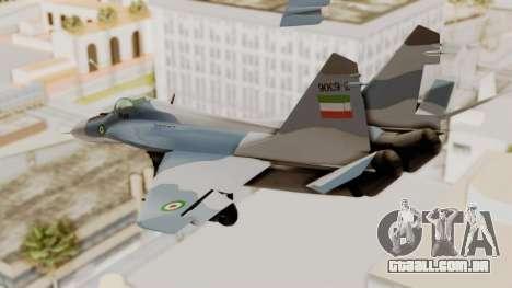 MIG-29A IRIAF para GTA San Andreas vista direita