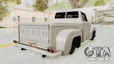 GTA 5 Slamvan Stock para GTA San Andreas traseira esquerda vista