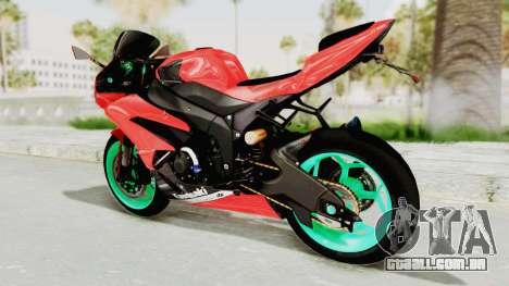 Kawasaki Ninja ZX-6R Highmodif para GTA San Andreas vista direita