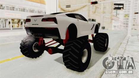 Chevrolet Corvette Stingray C7 Monster Truck para GTA San Andreas esquerda vista