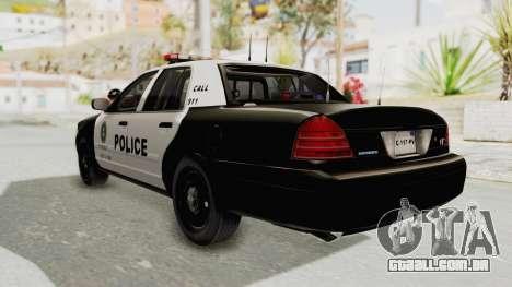 Ford Crown Victoria SFPD para GTA San Andreas esquerda vista