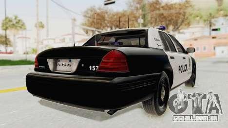 Ford Crown Victoria SFPD para GTA San Andreas traseira esquerda vista