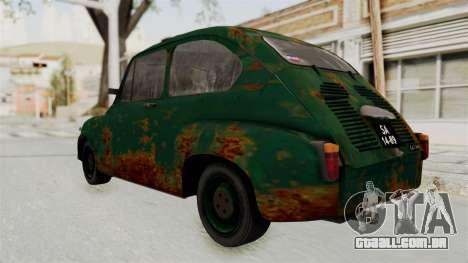 Zastava 750 Rusty para GTA San Andreas traseira esquerda vista