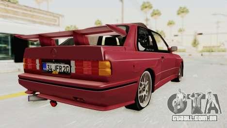 BMW M3 E30 1988 para GTA San Andreas esquerda vista
