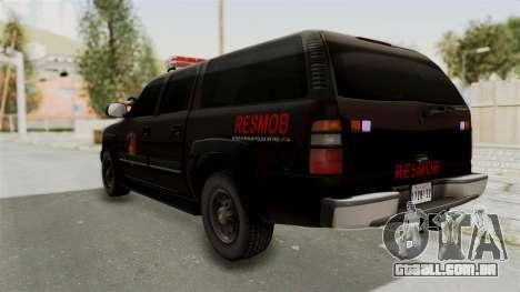 Chevrolet Suburban Indonesian Police RESMOB Unit para GTA San Andreas esquerda vista