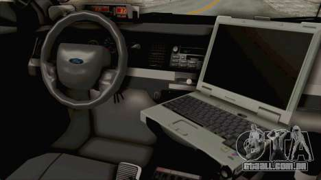 Ford Crown Victoria SFPD para GTA San Andreas vista interior
