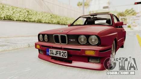 BMW M3 E30 1988 para GTA San Andreas vista direita