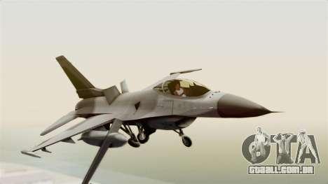 F-16 Fighting Falcon para GTA San Andreas traseira esquerda vista