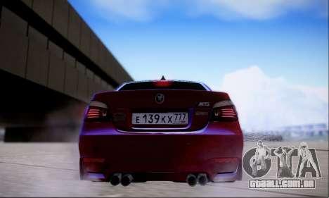 BMW M5 E60 Huracan para GTA San Andreas vista traseira
