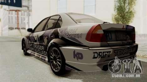 Mitsubishi Lancer Evolution VI Tenryuu Itasha para GTA San Andreas traseira esquerda vista