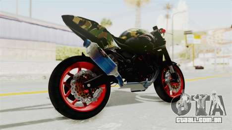 Kawasaki Ninja 250R Naked Camouflage para GTA San Andreas esquerda vista