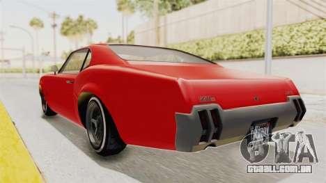 GTA 5 Declasse Sabre GT2 IVF para GTA San Andreas traseira esquerda vista