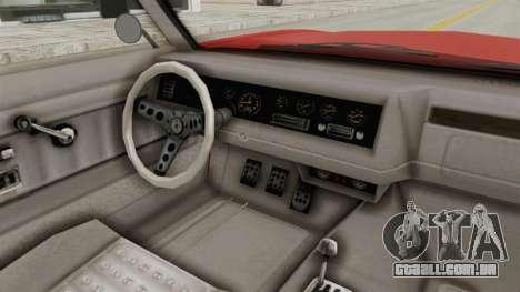GTA 5 Declasse Sabre GT2 IVF para GTA San Andreas vista interior