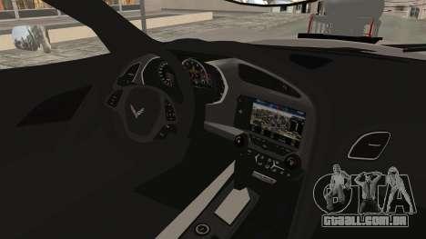 Chevrolet Corvette Stingray C7 Monster Truck para GTA San Andreas vista interior