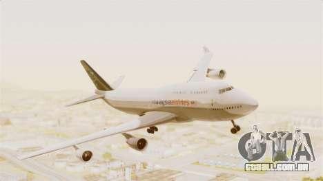 Boeing 747-400 Malaysia Airlines Tabung Haji para GTA San Andreas traseira esquerda vista