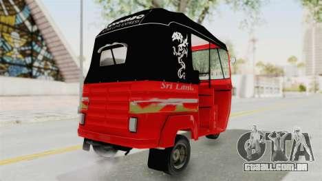 Sri Lanka Three Wheeler Taxi para GTA San Andreas traseira esquerda vista