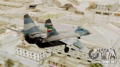 MIG-29A IRIAF para GTA San Andreas esquerda vista