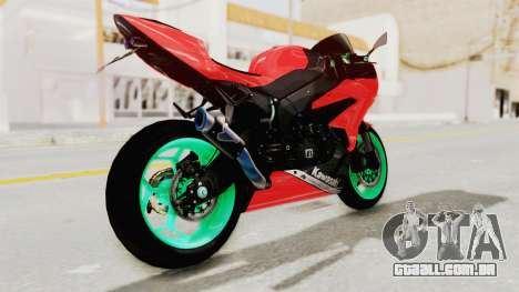 Kawasaki Ninja ZX-6R Highmodif para GTA San Andreas esquerda vista