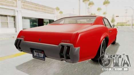 GTA 5 Declasse Sabre GT2 IVF para GTA San Andreas esquerda vista