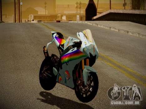 Yamaha YZR M1 2016 Rainbow Dash para GTA San Andreas esquerda vista
